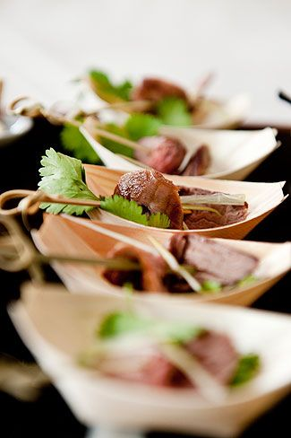 Paper Boats Garnished With Greens Makes Even Inexpensive Food Look Good Wedding EventsWedding CateringWeddingsWedding