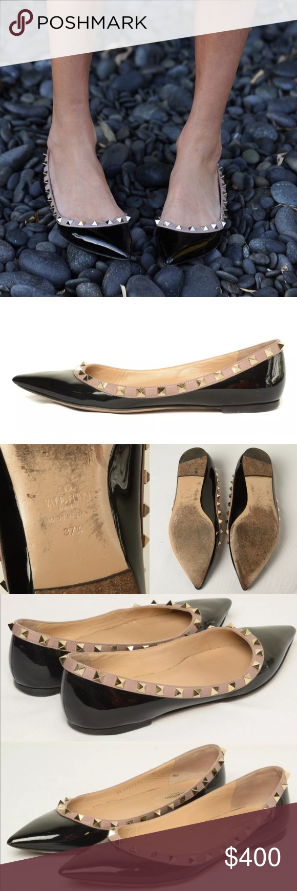 Valentino Black Patent Rockstud Flats Authentic Authentic VALENTINO Patent Rockstud Ballet Flats 37.5. Crafted of glossy black patent leather with a beige leather trim and light gold studs lining the mouth. Pair these shoes with jeans for day, or a flirty dress for a night out. These have been used but are in great condition as you can see :) images show the normal wear, but also the cared for condition! I love my shoes always. Comes with dustbag. On Ⓜ️erc for 320 Valentino Shoes Flats…
