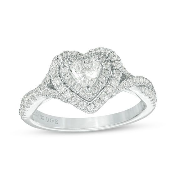 Vera Wang Love Collection 3/4 CT. T.w. Heart-Shaped Diamond Double ...