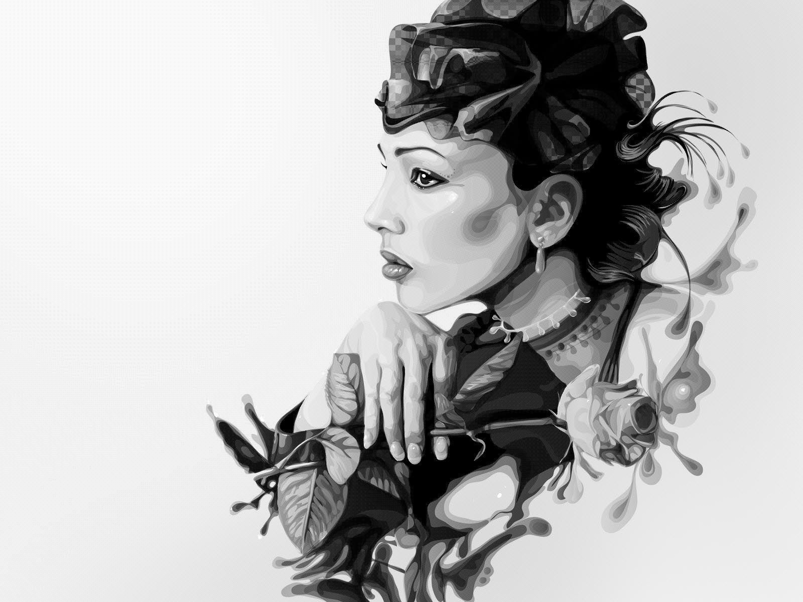 девушка рисунок профиль - Поиск в Google   Черно-белая ...