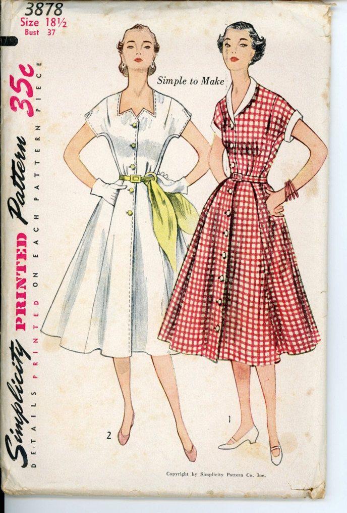 1950 Dress Patterns 1950s Dress Pattern Simplicity 3878 Sewing