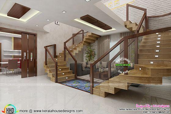 Posh Living Room Interior Stairs Design Interior Kerala House Design Living Room Interior