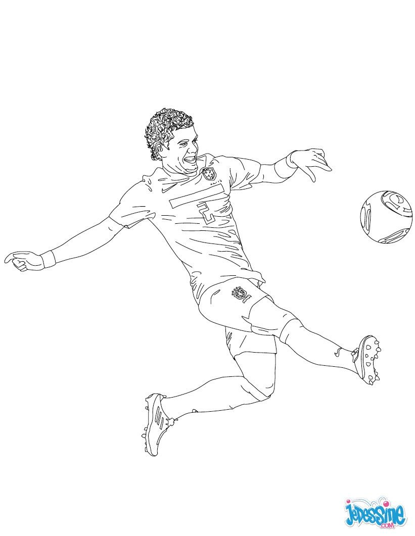 Coloriage du joueur de foot Dani Alves € imprimer gratuitement ou colorier en ligne sur