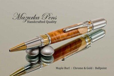 Maple Burl with Chrome / Gold Art Deco Handmade pen