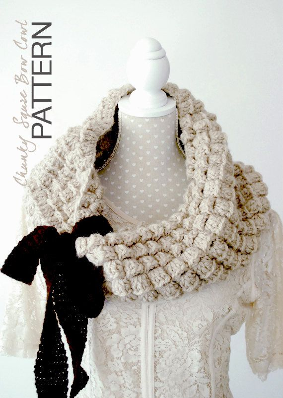 Crochet PATTERN - Instant download: Chunky Square Cowl, Fall ...