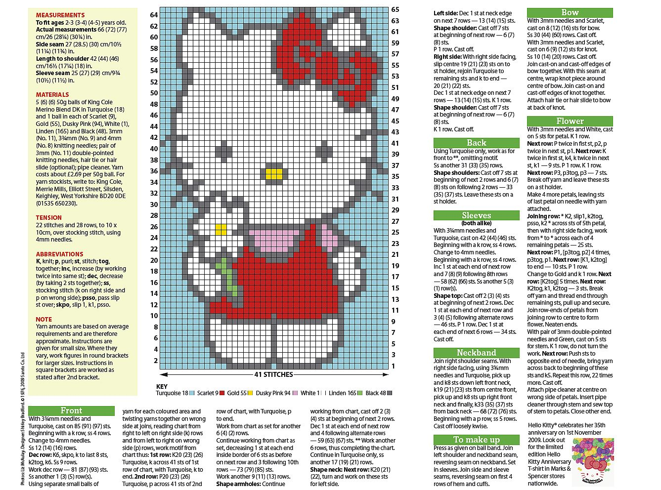 Hello kitty jumper knitting pattern - could also use for cross stitch Cross...