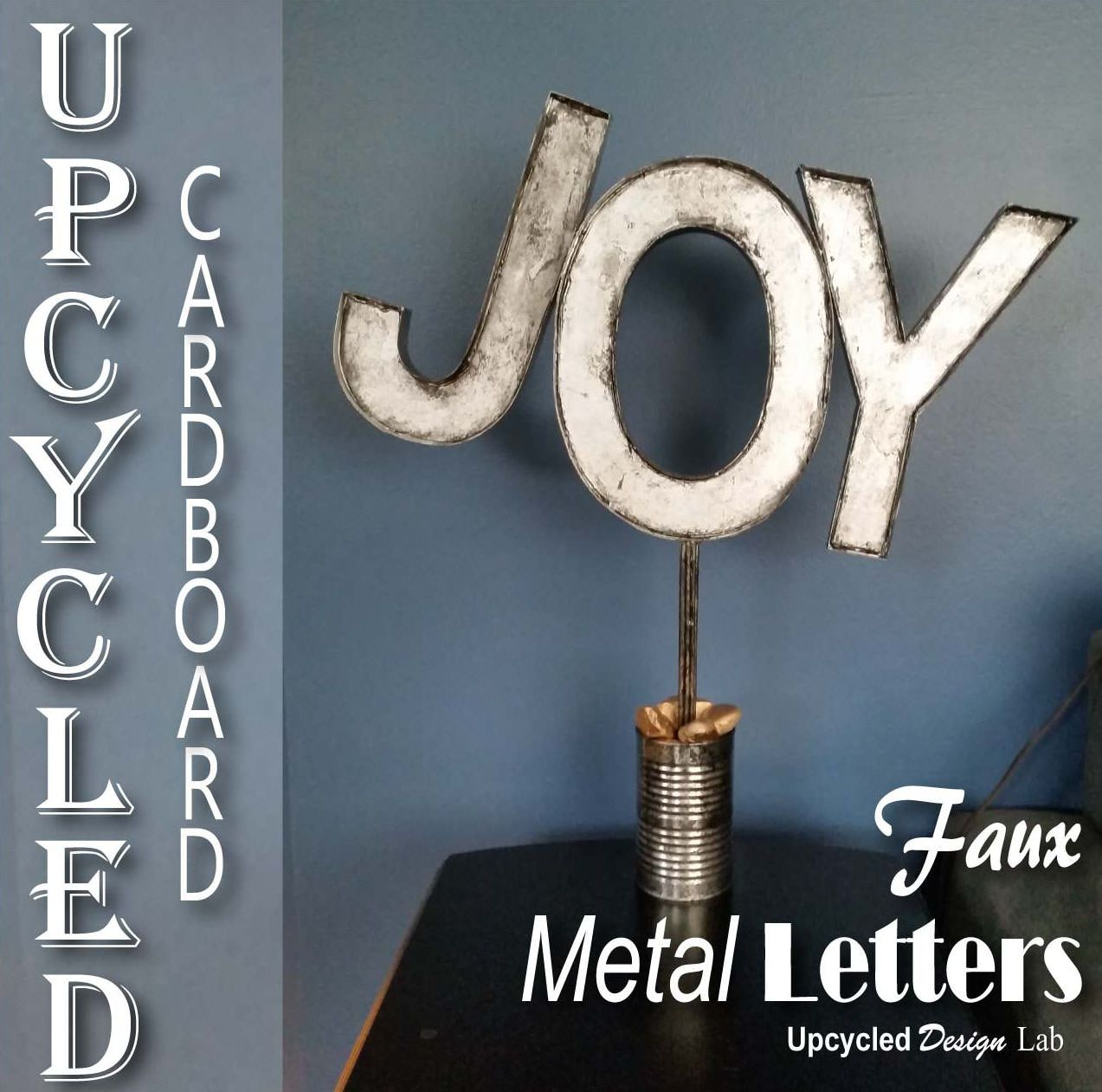 Metal Craft Letters Upcycled Cardboard  Faux Metal Letters Holiday Decoration Joy
