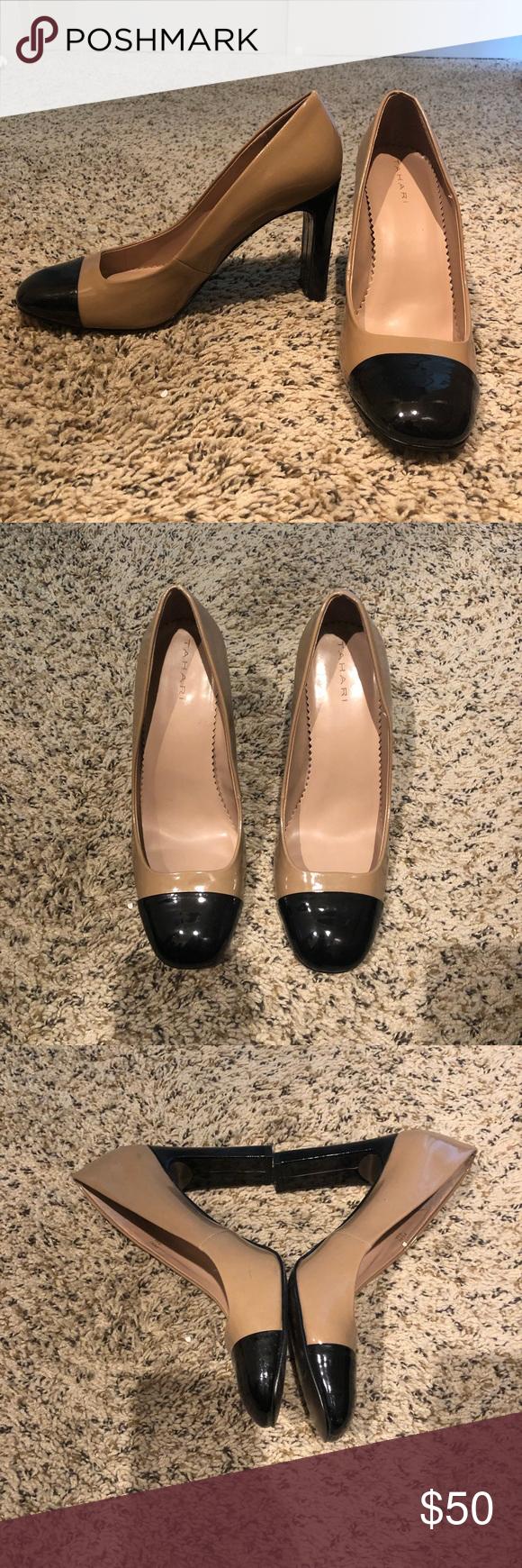 Tahari color block heels Gently used Tahari color block heels • squoval toe • chunky heel Tahari Shoes Heels