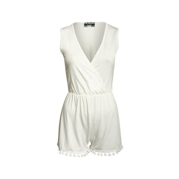 Pilot Danielle V Neck Pompom Detail Playsuit (43 CAD) ❤ liked on Polyvore featuring jumpsuits, rompers, cream, shorts, playsuit romper, white summer romper, white romper, white rompers and deep v neck romper