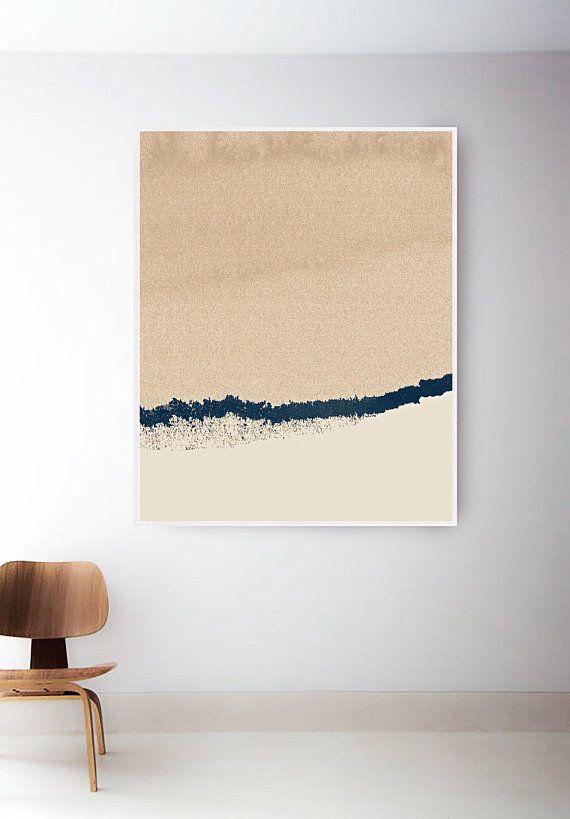 Abstract Tan Print. Navy and Light Brown Art. Beige Art Prints ...