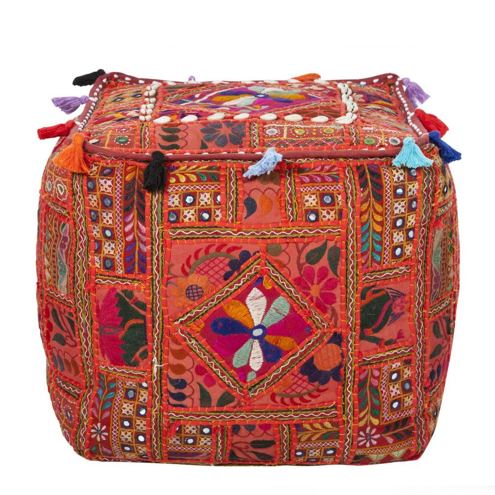 Ellie Indian Embroidered Pouf This Handmade Cube Pouf