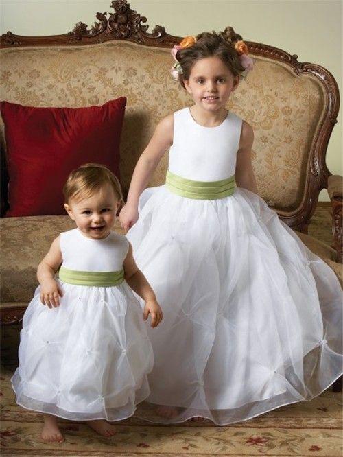 Ball Gown Scoop Tea Length White Organza Toddler Flower Girl Dress ...