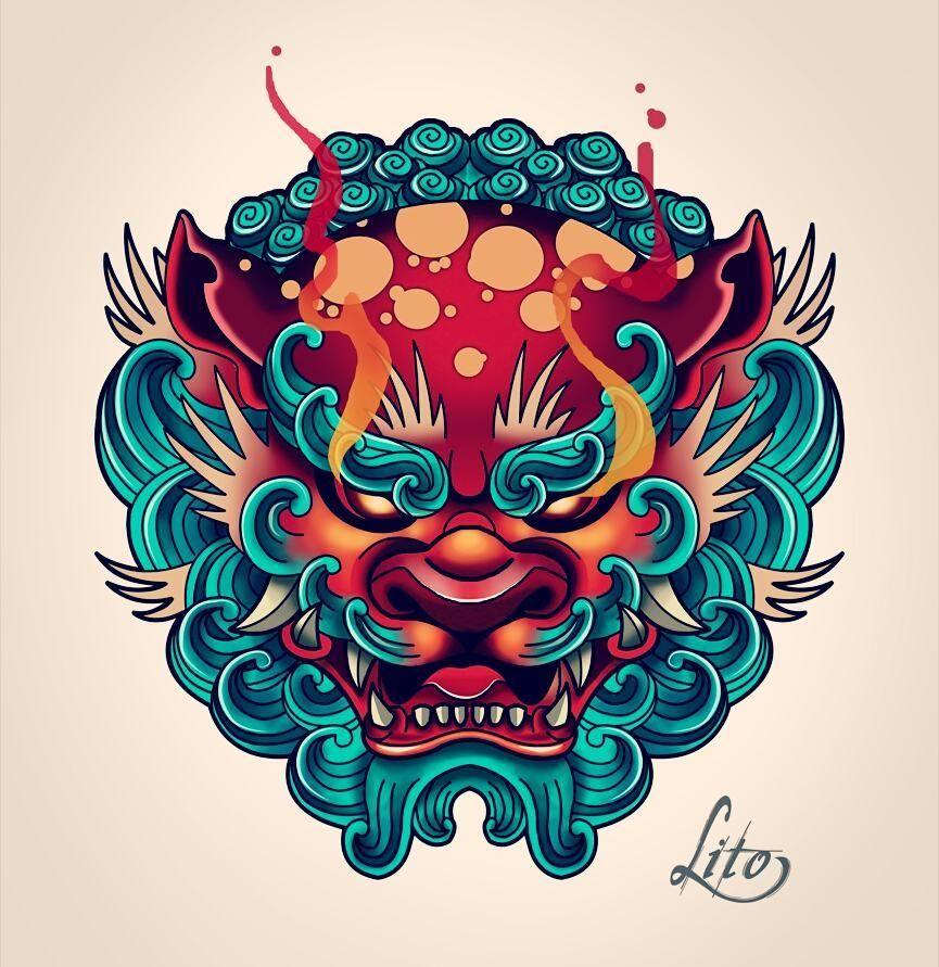 Fu Dog Tattoo Design Fu Dog Tattoo Oriental Tatuagem Na Mao