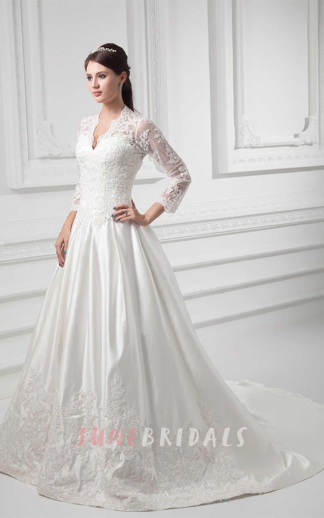 Long sleeve ball gown wedding dresses  Scallopedneck plunged ball lace gown with illusion long sleeves