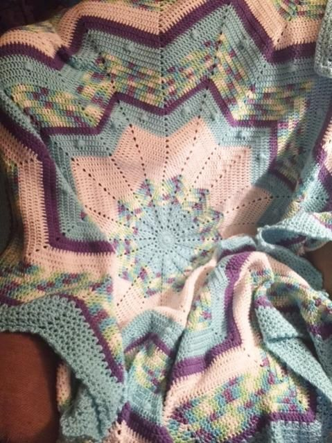 My Round 12 Point Star Afghan Crochet Round Ripple Afghans