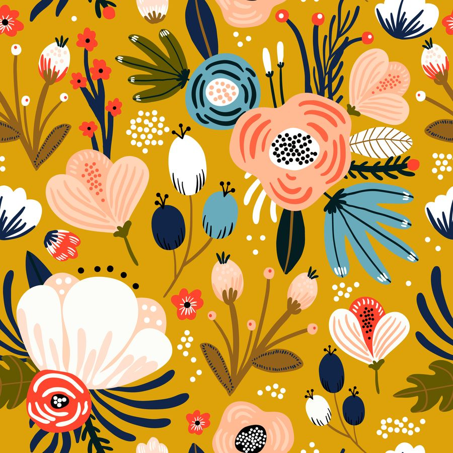Mid Century Modern Floral Print On Mellow Yellow Rectangular Pillow By Dec02 Small 17 X In 2020 Floral Print Wallpaper Modern Floral Wallpaper Floral Illustrations