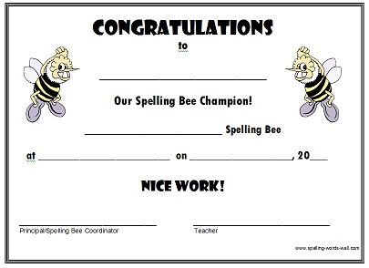 Free spelling bee certificates certificate bees and bee certificate free spelling bee certificates yadclub Image collections