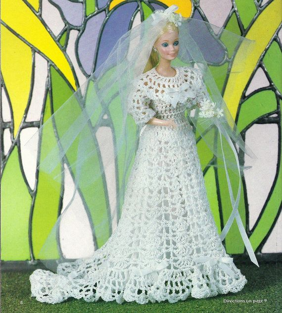 Barbie Doll Wedding Dress Vintage Crochet Pattern Bridal Gown With ...