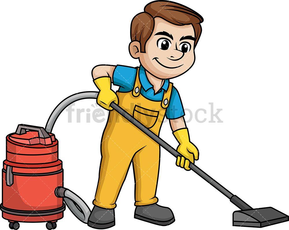 Man Vacuuming The Floor In 2020 Cartoon Clip Art Illustration