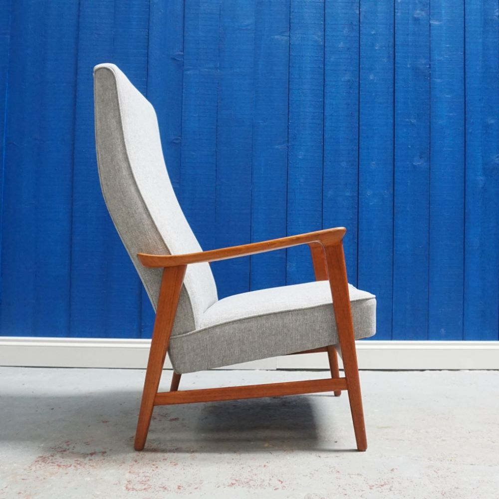High Long Back Mid Century Danish Teak Armchair From 1960 S