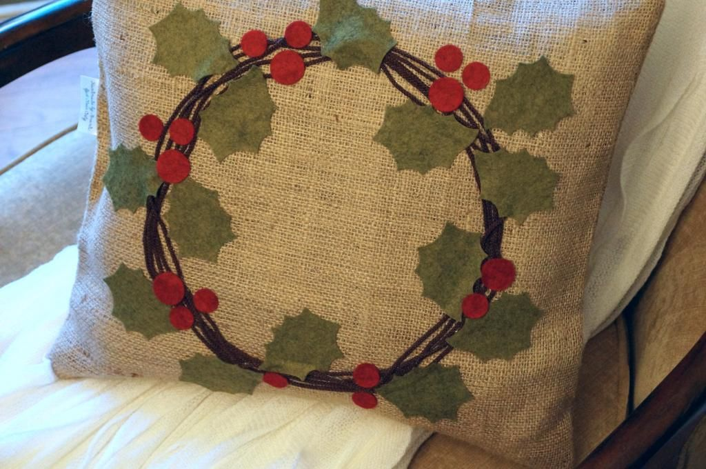 Pottery Barn Inspired Holly Berry Wreath Pillow Diys