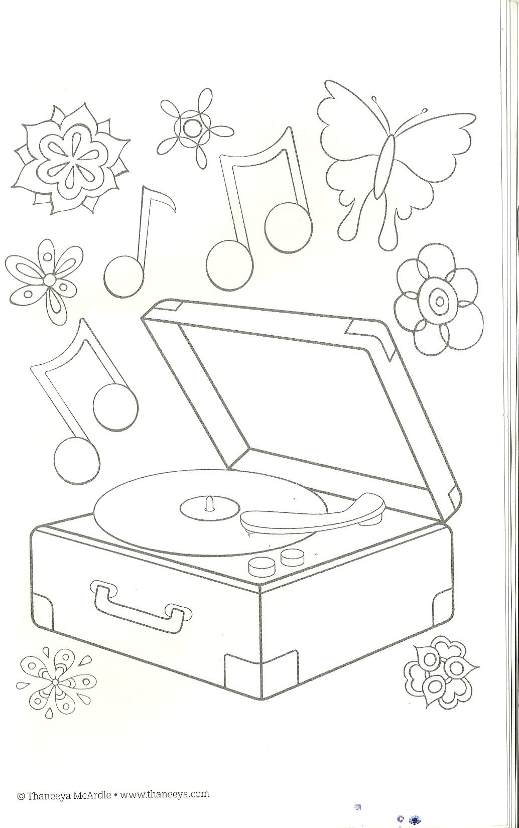 Record Player Coloring Page Coloring Pages Christmas Coloring Pages Digital Stamps