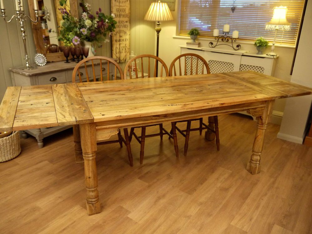 Large Rustic Dining Table Kitchen Extending Ft Solid Wood Plank - 8ft dining table