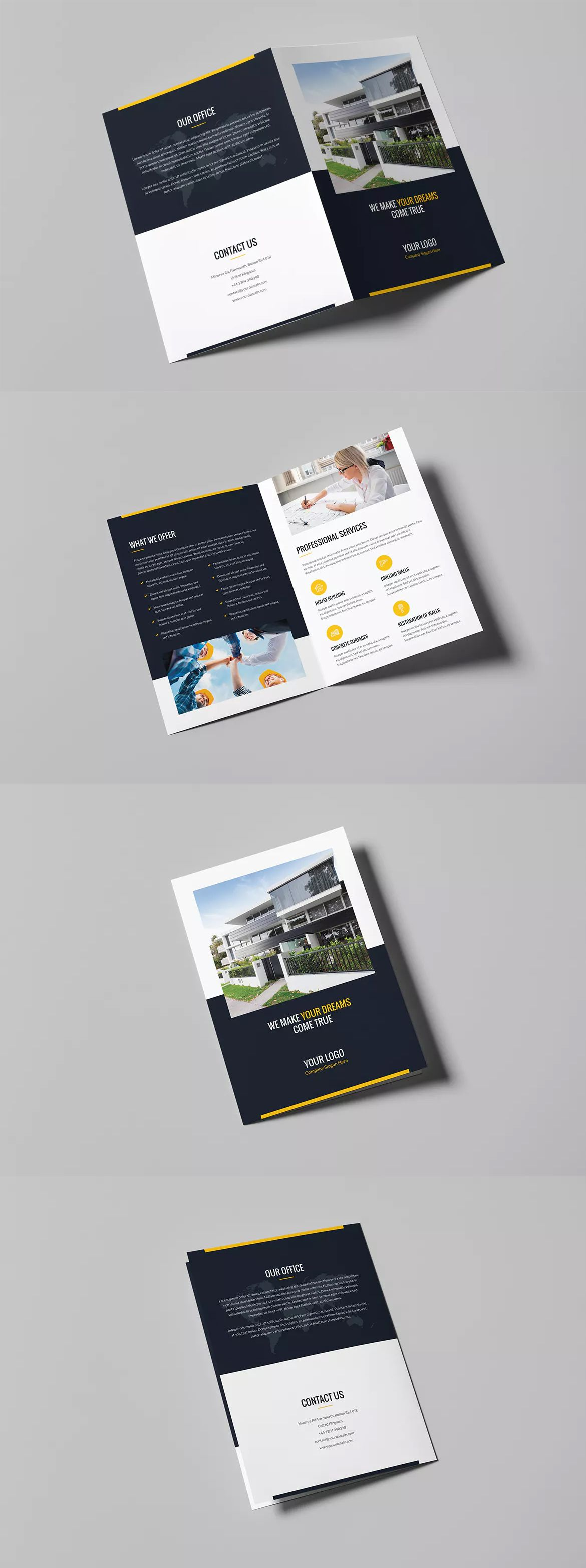 builder bi fold brochure template psd a4 and us letter size