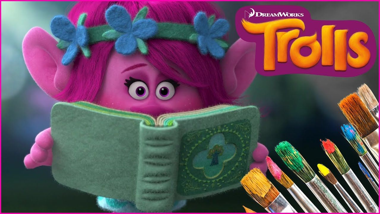 we color poppy troll coloring pages we 3 coloring pages including poppy reading a book from our giant virtual trolls coloring book