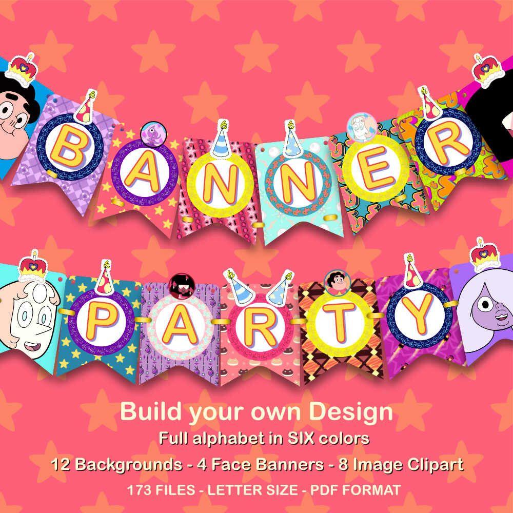 Design banner for etsy - Steven Universe Banner Party 173 Pdf Files 300 Dpi For You Steven Universe Party Build Your Own Design