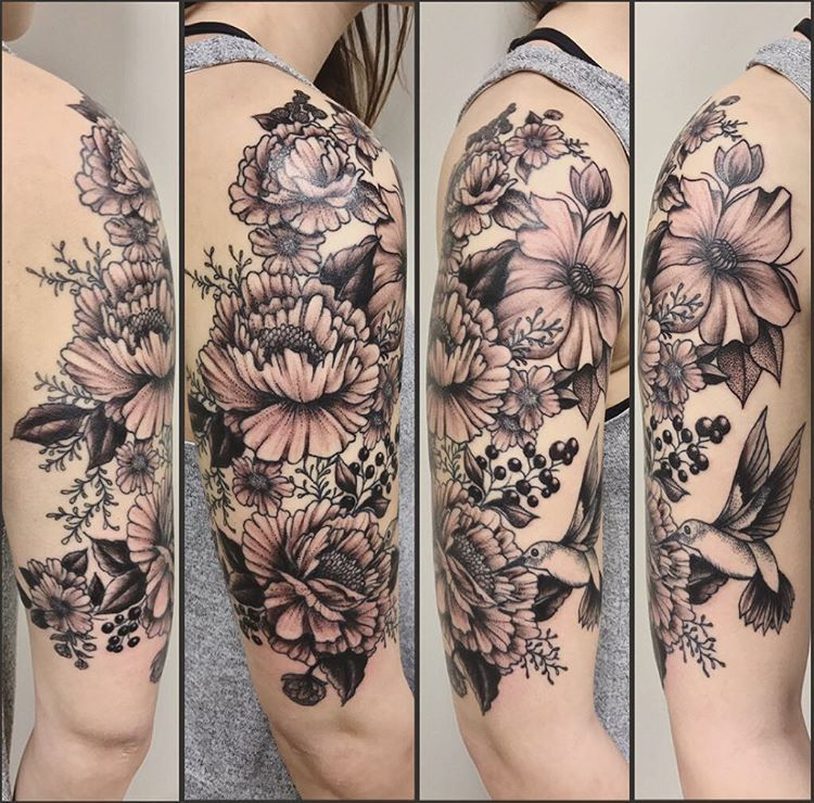 Poppy Half Sleeve Tattoo: Floral Half Sleeve Tattoo By Jess Alther At Black Gold