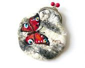 Wet Felted Butterfly on a birch tree coin purse