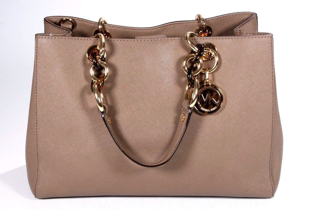 2b45e2e41c1ae7 Michael Kors Taupe Crossgrain Leather Chain Strap Tote Shoulder Handbag # MichaelKors #ShoulderBagTote