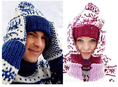 Женская и мужская шапка с оленями | вязание спицами ...