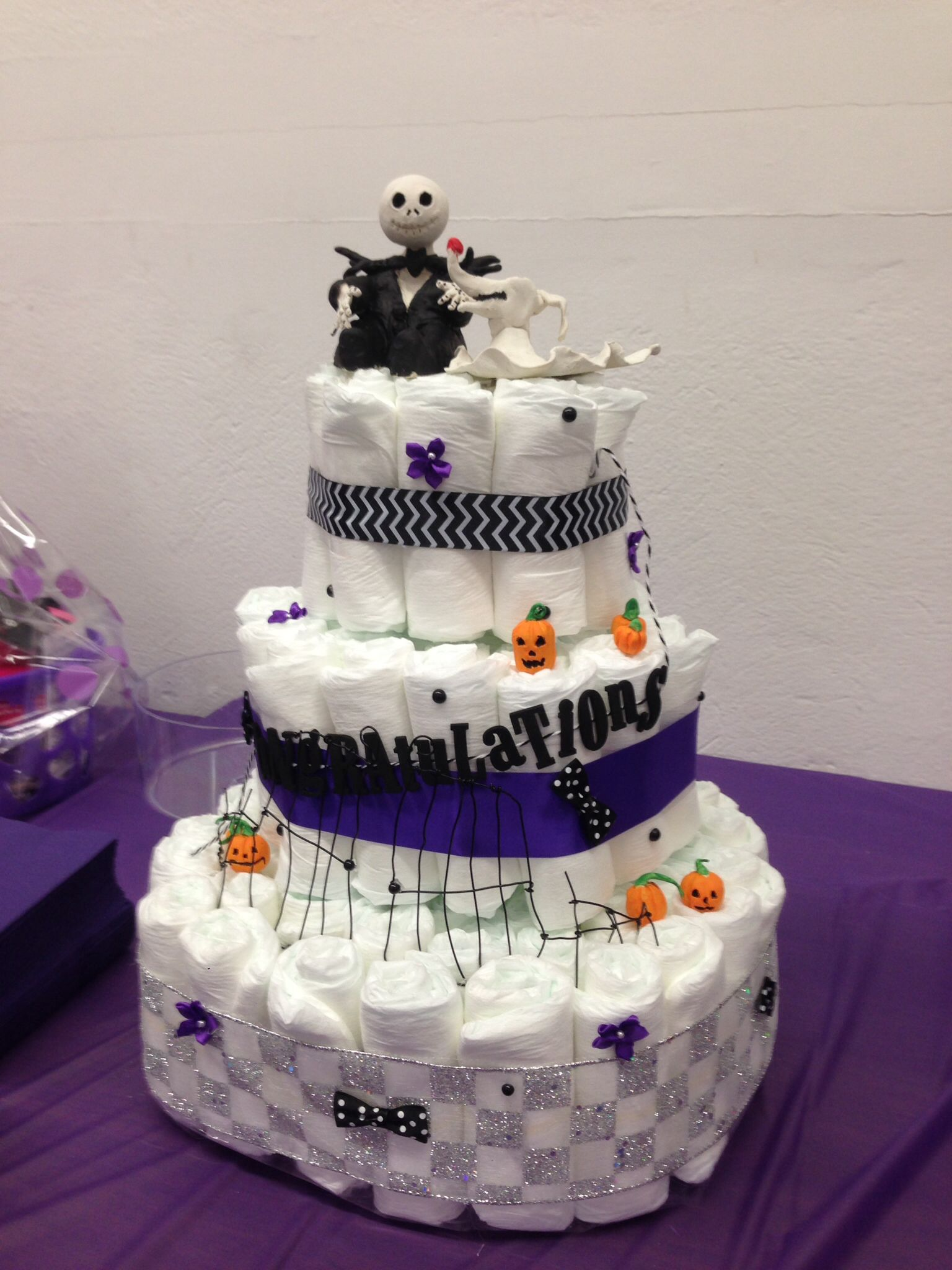 Cake Made Of Diapers For Baby Shower Part - 23: Diaper Cake Made For My Nightmare Before Christmas Themed Baby Shower
