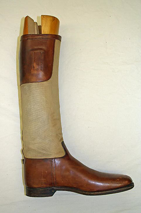 "Riding Boots: 1930's, British, cotton, leather, wood, metal, plastic.    Marking: c,d) [woodburn] ""John L. Loeb / Patent No / 5562 / PEAL & Co London"""