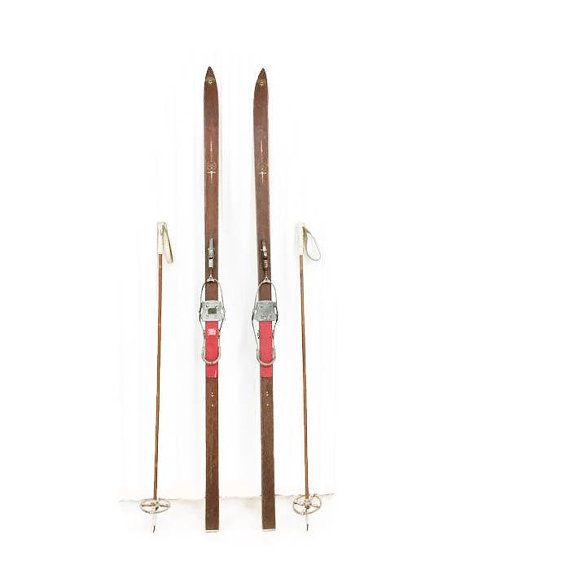 Vintage Sigmund Ruud Skis And Poles Ca. 1940s, Laminated