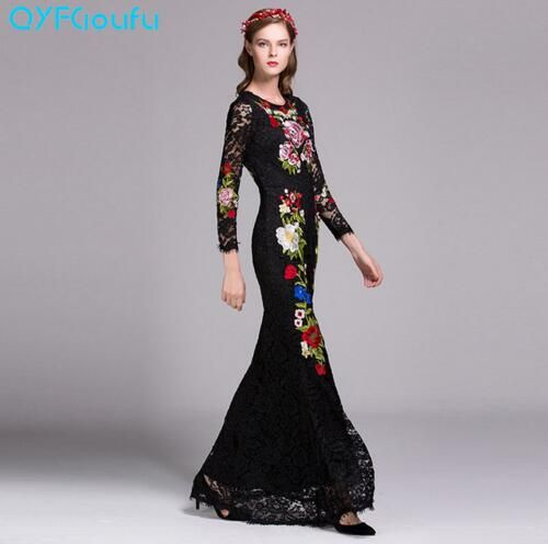 5ba91042c5 2017 High Quality Classy Women Long Dress Embroidered Runway Party Maxi  Lace Dress Black And Pink Long Sleeve ladies dresses vestidos verano 2017