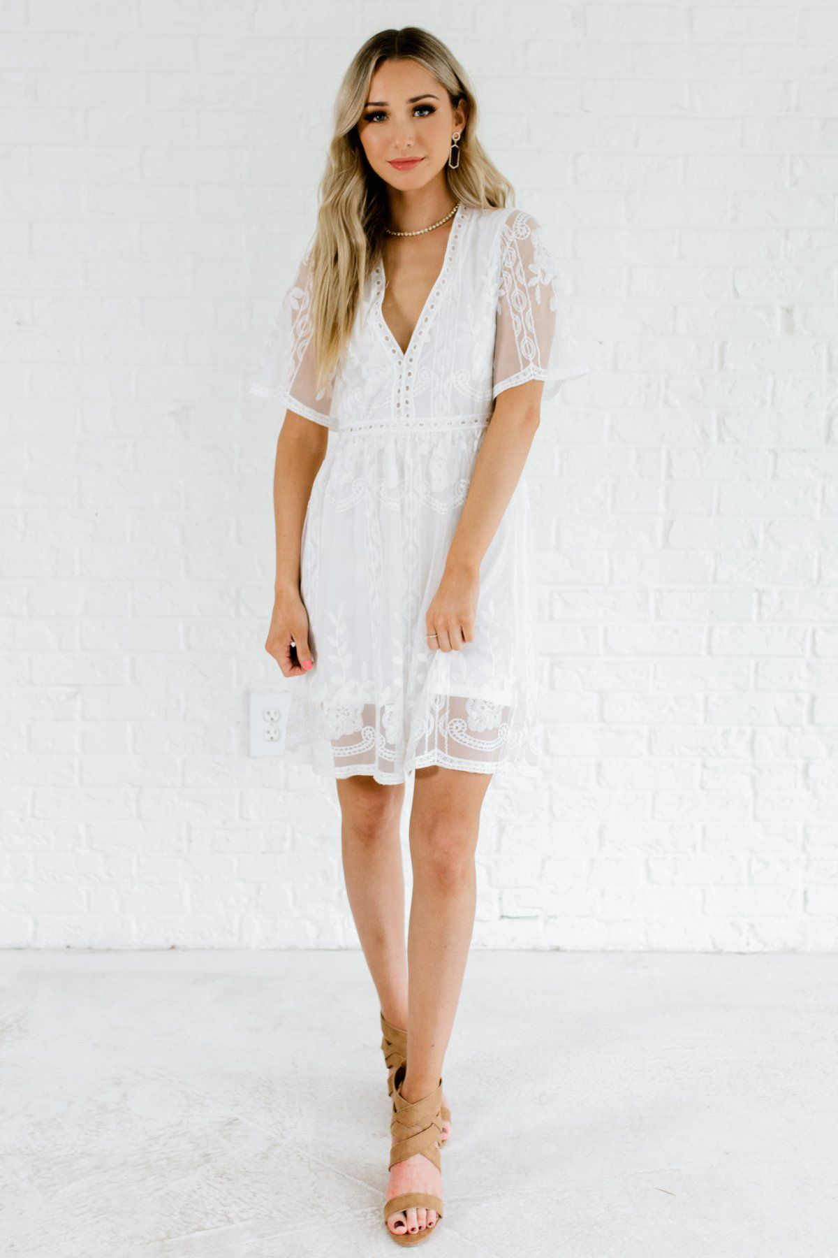 63bc3df6a588 White Crochet Floral Lace Overlay Mini Dresses with Flowy Sleeves and See  Through Back