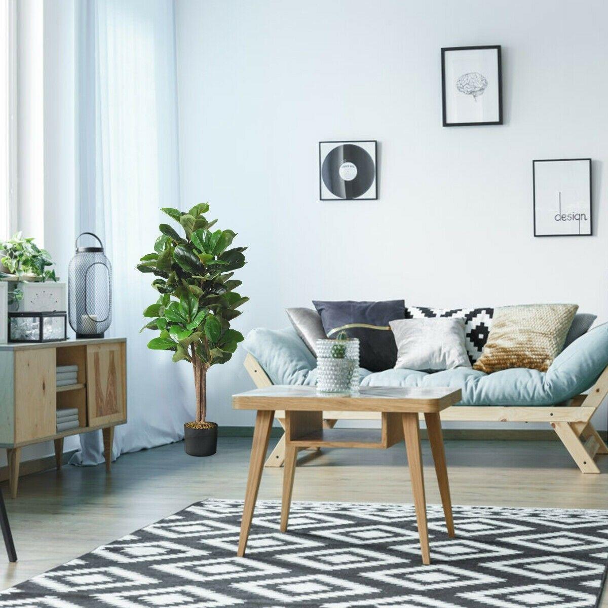 4ft Artificial Fiddle Leaf Fig Tree Decorative Planter Trending Decor Classic Living Room Living Room Plants