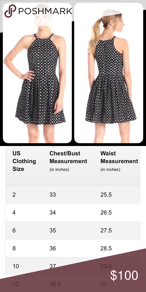 Vince camuto fit and flare black white eyelet dress fabulous high quality please see size chart for measurement of also rh pinterest