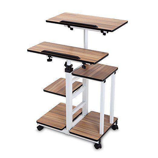 Mobile Workstation Cart Standing Desk Adjustable Table Computer