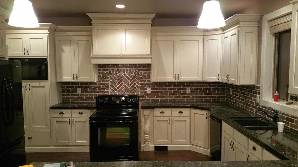 Granite Countertops White Cabinets Kitchen With Black Appliances