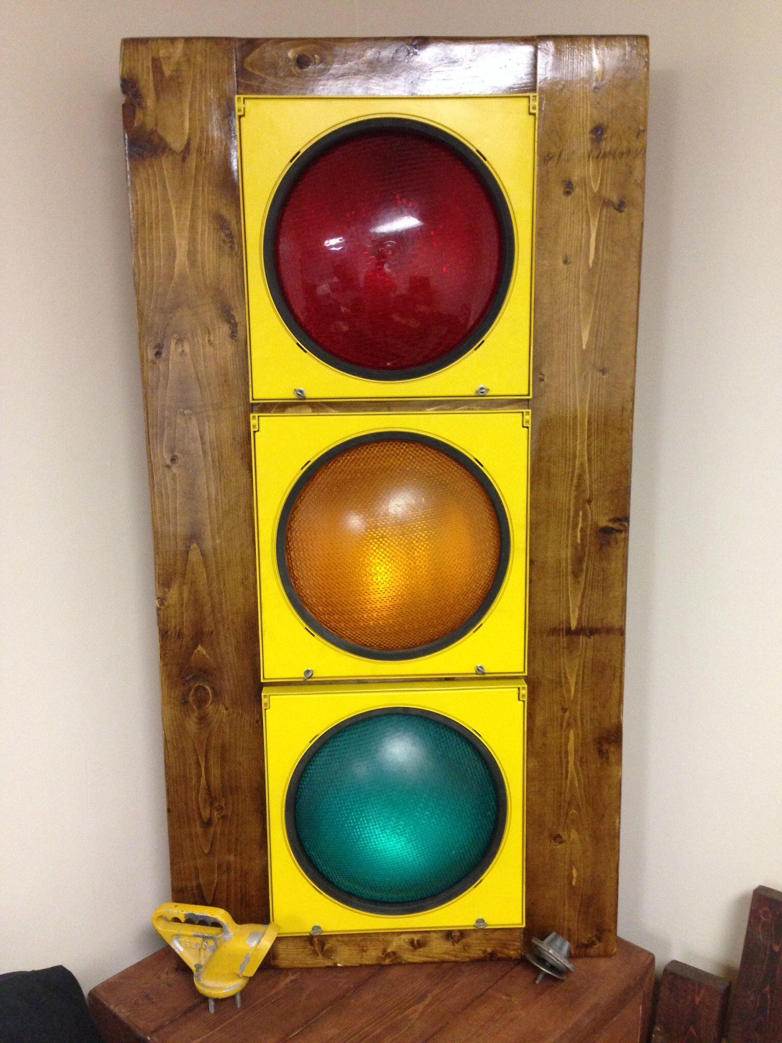 Lighting Basement Washroom Stairs: Custom Traffic Light. Wired To Light Switch For Each Light