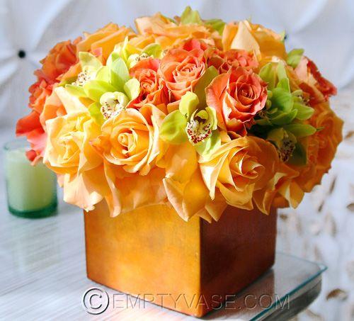 Orange Flower Arrangements For Weddings: Orange Reception Wedding Flowers, Wedding Decor, Wedding