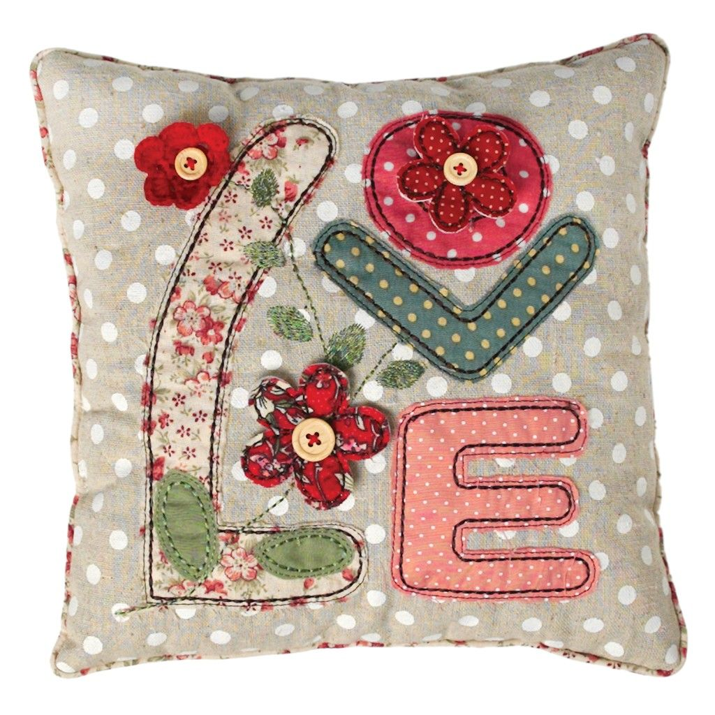 Patchwork Hippy Love Cushion Dotcomgiftshop This