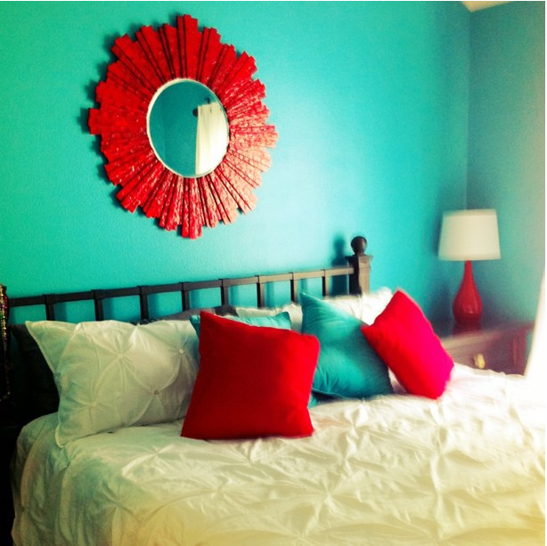 Lovely I Took A Picture Of Our Teal (turquoise) And Red Bedroom This Morning. Here  Is A Sneak Peek. By AngryJulieMonday, Via Decor Room