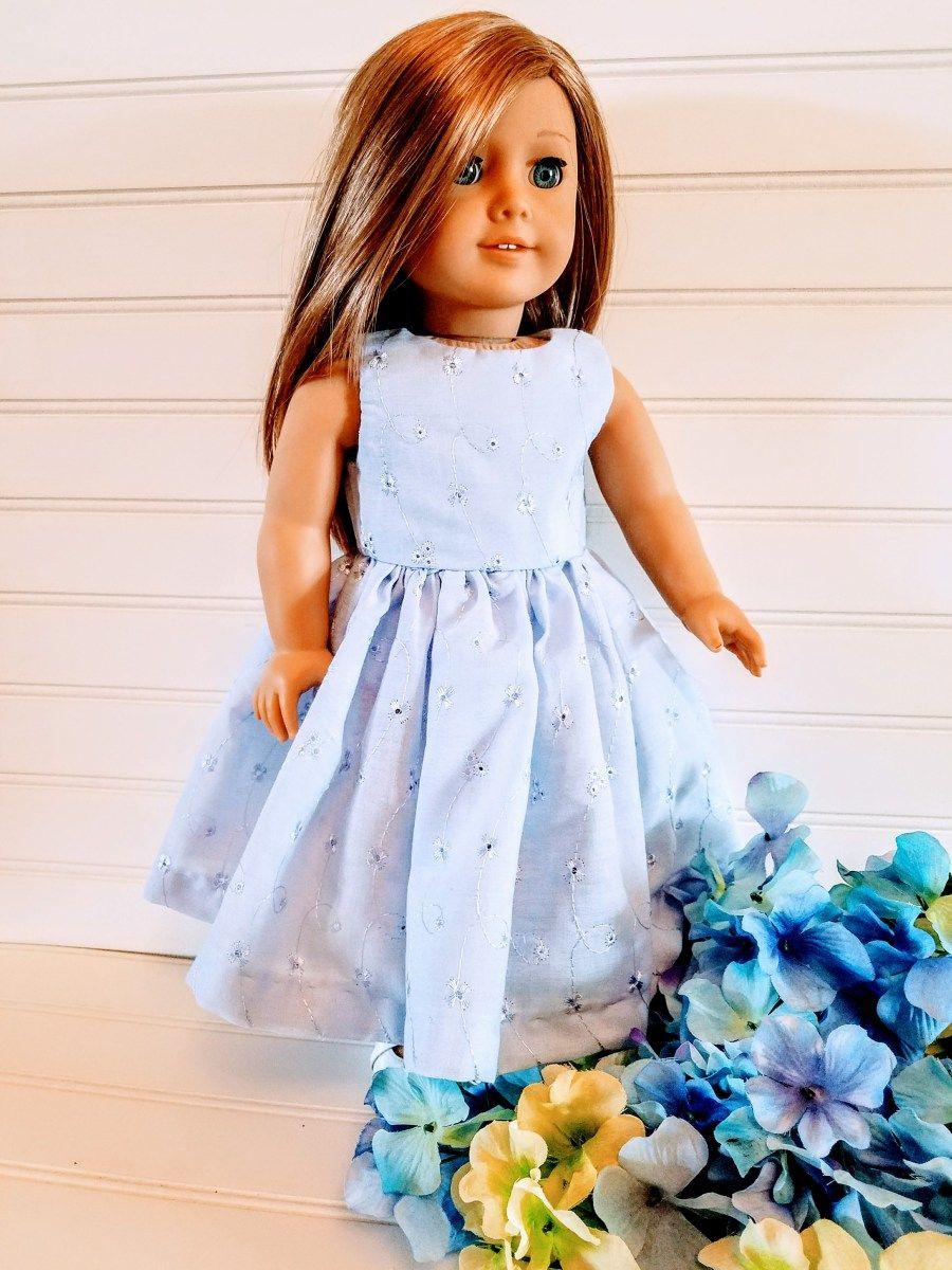 acf21effd23 Blue Eyelet Doll Dress