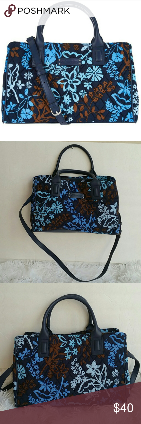 """Vera Bradley Signature Print Triple Compartment Sa Vera Bradley Signature Print Triple Compartment Satchel.preown. in awesome condition. Color java floral.  Measures approximately 13""""W x 8-1/2""""H x 4""""D with a 19"""" to 22"""" strap drop and 4-1/2"""" handles; weighs approximately 15 ozs Facing/lining 100% cotton; filling/trim 100% polyurethane; pockets 100% polyester pockets; steel hardware. Vera Bradley Bags Satchels"""