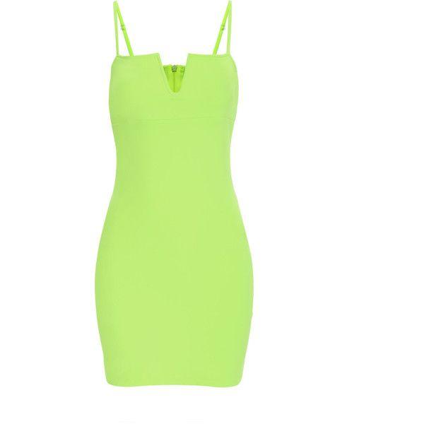 Yoins Fluorescent Green Sexy V-neck Bodycon Cami Dress ( 16) ❤ liked on 11703e398